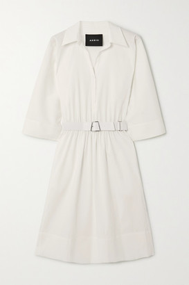 Akris Belted Cotton-poplin Shirt Dress - White