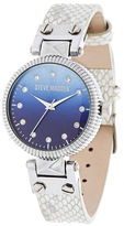 Steve Madden Crystal, Glass and Leather Watch