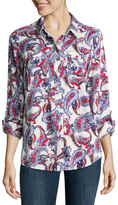 Liz Claiborne 3/4 Sleeve Rayon Button-Front Shirt