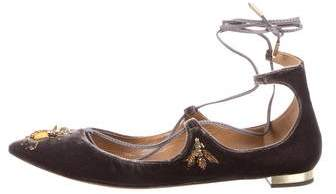 Aquazzura Christy Fauna Lace-Up Flats