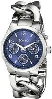 SO&CO New York Women's 5013.6 SoHo GMT Day and Date Blue Dial Stainless Steel Chain Link Bracelet Watch