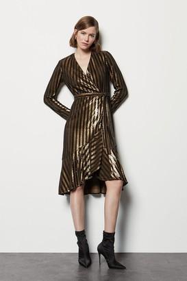 Karen Millen Stripe Sequin Sleeved Wrap Dress