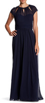 JS Boutique Pleated Cap Sleeve Gown