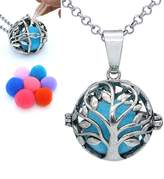 Tree of Life Hollow Locket Necklace Essential Oil Diffuser Cotton Release Ball Pendant