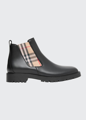 Burberry Men's Allostock Vintage Check Leather Chelsea Boots