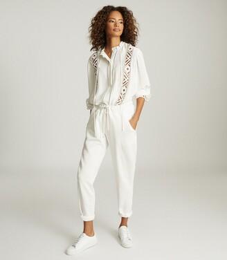 Reiss Heidi - Jersey Loungewear Joggers in Ivory