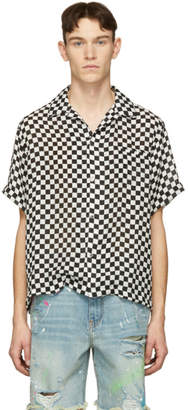 Amiri Black and White Silk Check Short Sleeve Shirt
