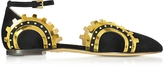 Charlotte Olympia Machine Age Black Suede and Gold Metalic Leather Flats
