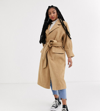 Asos DESIGN Petite brushed belted coat in camel-Beige