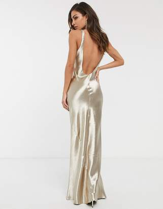 Asos Design DESIGN scoop neck bias cut satin maxi dress-Beige