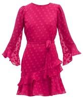 Saloni Marissa Ruffled Polka-dot Silk-blend Mini Dress - Womens - Pink