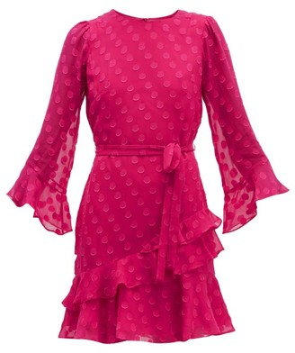Saloni Marissa Ruffled Polka-dot Silk-blend Mini Dress - Pink