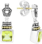 Lagos 18K Gold and Sterling Silver Caviar Color Drop Earrings with Green Quartz
