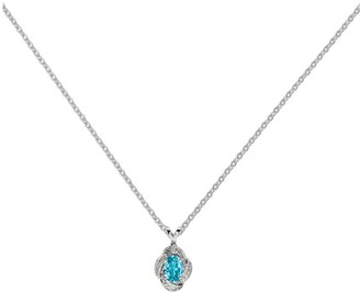 "Sterling Gemstone & Diamond Pendant with 18"" Chain"