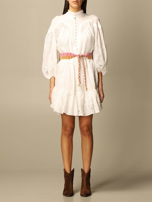 Zimmermann Short Dress In Embroidered Cotton