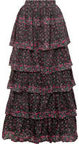 LoveShackFancy Carmen Tiered Floral-print Cotton Maxi Skirt - Black