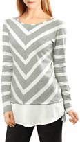 Allegra K Women's Layered Tunic Top in Striped and Chevron Print Grey XL