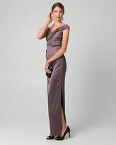 Le Château Satin Off-the-Shoulder Pleated Gown