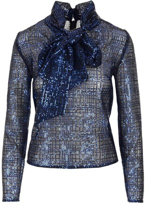 Self-Portrait Check Sequin Bow Detail Blouse