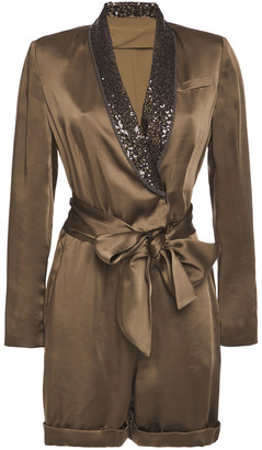 Brunello Cucinelli Belted Embellished Satin Playsuit