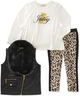 Juicy Couture Scottie Dog Hi-Lo Tee, Faux Fur Collar Faux Leather Vest & Animal Print Legging Set (Toddler Girls)