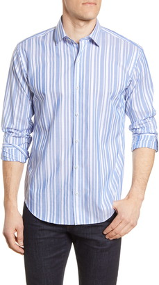 Bugatchi Shape Fit Stripe Cotton & Linen Button-Up Shirt