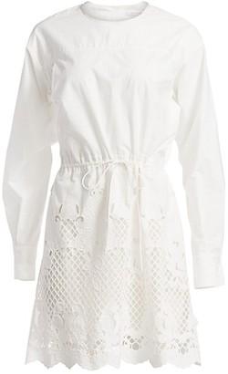 See by Chloe Lace Eyelet Puff-Sleeve Drawstring A-Line Poplin Dress