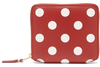 Comme des Garcons Polka-dot Leather Zip Wallet - Red Multi