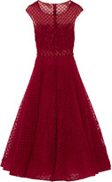 Marchesa Embellished Tulle Midi Dress - Claret