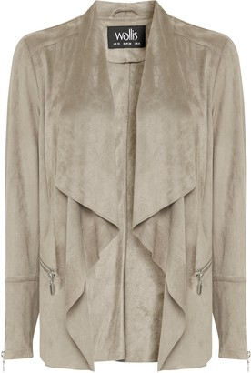 Wallis Taupe Faux Suede Waterfall Jacket