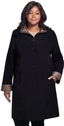 Gallery Plus Size Hooded Midweight Rain Jacket