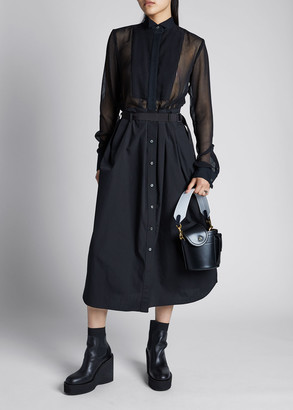 Sacai Sheer Button-Down Poplin Shirt Dress