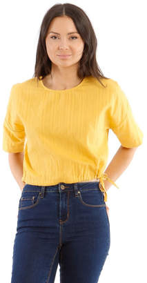 Grab Short-Sleeve Top with Side Tie