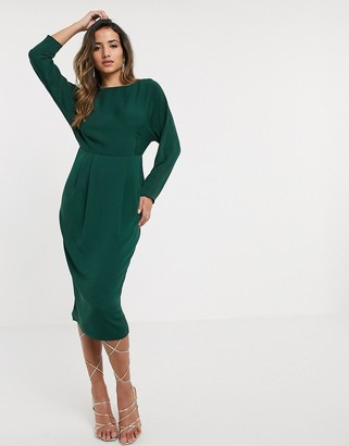 ASOS DESIGN kimono sleeve midi dress with tie detail back in green