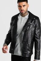 boohoo Mens Black Faux Leather Biker Jacket With Shoulder Detail, Black