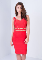 Missy Empire Larisa Red Bandage Cut Out Co-ord