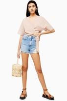 Topshop Bleach Wash Ripped Denim Mom Shorts
