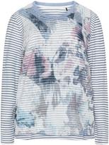 Via Appia Plus Size Striped mesh t-shirt