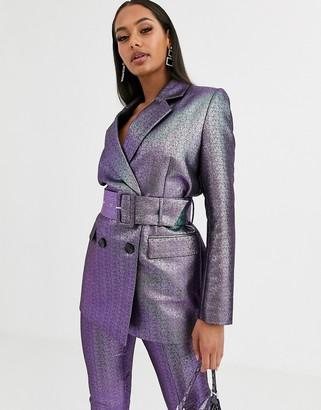 Asos Design DESIGN oilslick metallic belted suit blazer-Multi