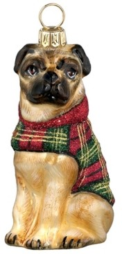 Joy to the World Pug in Tartan Plaid Coat