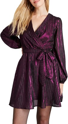 ModCloth Metallic Stripe Long Sleeve Fit & Flare Dress