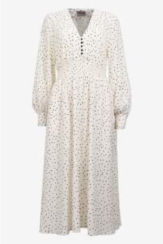 Baum und Pferdgarten Cream and Black Recycled Polyester Flying Dots Adison Dress - 38 | Cream/Black