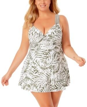 Anne Cole Plus Size Tropical-Print Swimdress Women's Swimsuit