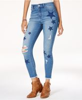 Tinseltown Juniors' Ripped Star-Patch Skinny Jeans