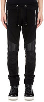 Balmain Women's Leather & French Terry Moto Sweatpants-BLACK