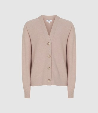 Reiss Simone - Wool Cashmere Blend Cardigan in Blush