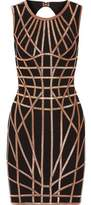 Herve Leger Cutout Metallic Bandage Mini Dress