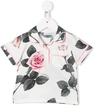 Dolce & Gabbana Kids Tropical Rose print polo shirt