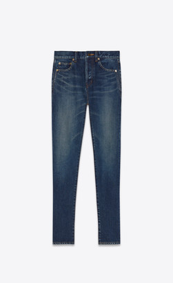 Saint Laurent Slim Jeans In Dirty Dark Vintage Blue Denim Dirty Vintage Blue 24