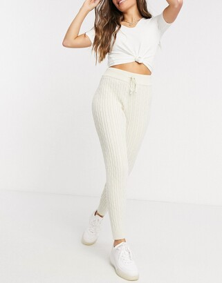 New Look cable knit jogger in white